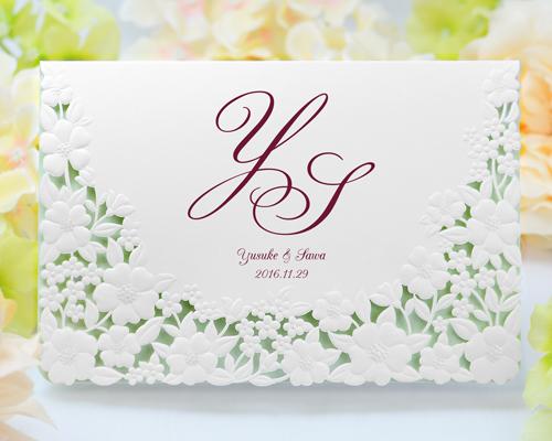 結婚式招待状(手作りキット) パティオWR(ワインレッド)【Name on Card タイプ】 メイン画像
