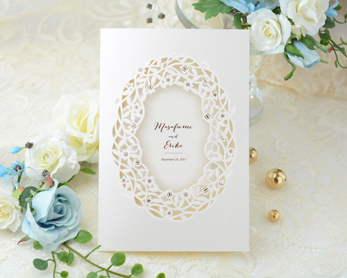 結婚式招待状(手作りキット) デリカBW(ブラウン)【Name on Card タイプ】 メイン画像