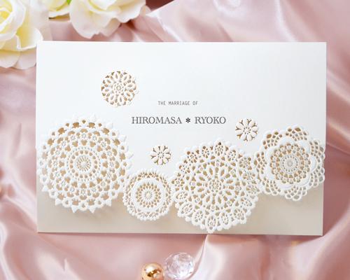 結婚式招待状(手作りキット) レースN(ナチュラル)【Name on Card タイプ】 メイン画像
