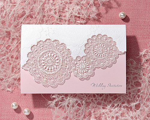 結婚式招待状(印刷込み) レースP(ピンク) メイン画像