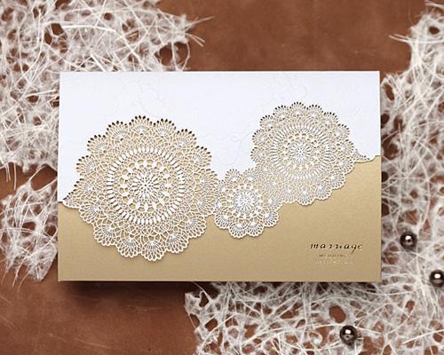 結婚式招待状(印刷込み) レースBW(ブラウン) メイン画像