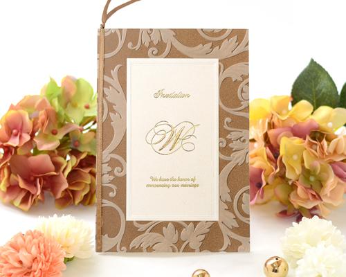 結婚式招待状(印刷込み) アダージョBW(ブラウン) メイン画像