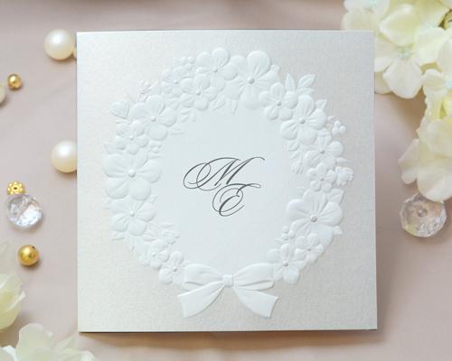 結婚式招待状(印刷込み) フェリチタGY(グレー)【Name on Card タイプ】 メイン画像