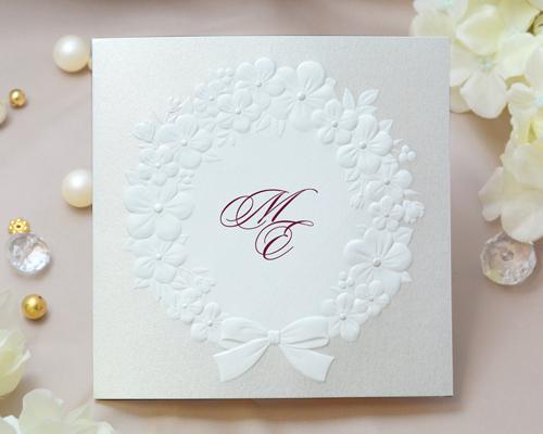 結婚式招待状(印刷込み) フェリチタWR(ワインレッド)【Name on Card タイプ】 メイン画像