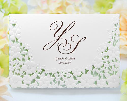 結婚式招待状(印刷込み) パティオBW(ブラウン)【Name on Card タイプ】 メイン画像