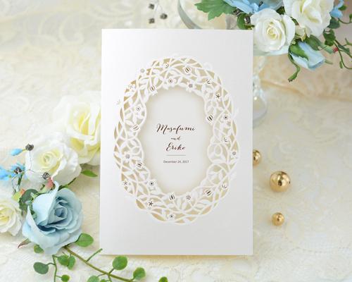 結婚式招待状(印刷込み) デリカBW(ブラウン)【Name on Card タイプ】 メイン画像