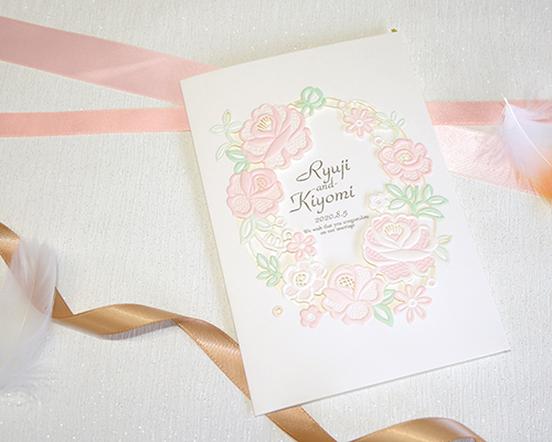 結婚式招待状(印刷込み) シンシア(Pink)【Name on Card タイプ】 メイン画像