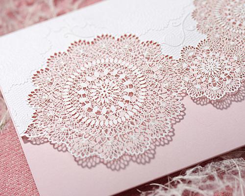 結婚式招待状(手作りキット) レースP(ピンク) サポート画像3 (拡大)