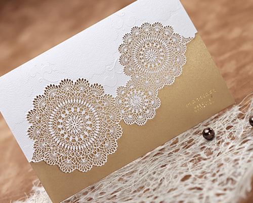 結婚式招待状(手作りキット) レースBW(ブラウン) サポート画像1 (拡大)