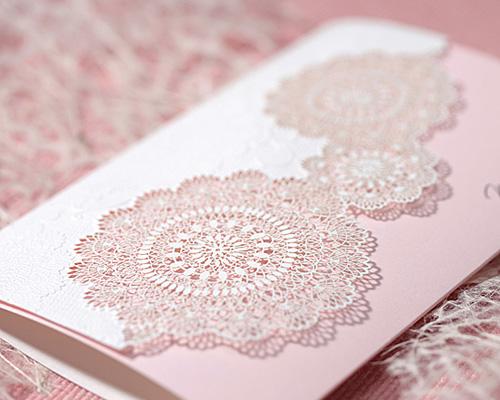 結婚式招待状(手作りキット) レースP(ピンク) サポート画像2 (拡大)