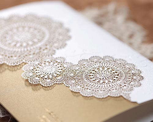 結婚式招待状(手作りキット) レースBW(ブラウン) サポート画像3 (拡大)