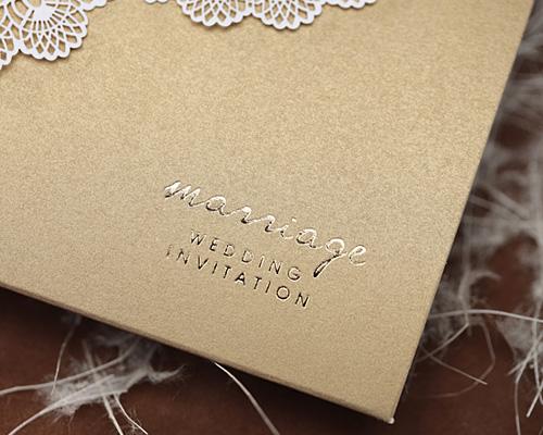 結婚式招待状(手作りキット) レースBW(ブラウン) サポート画像6 (拡大)
